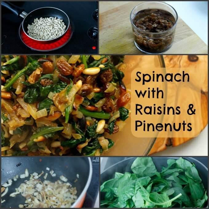 Spinach with Raisins & Pine nuts ~ Lydia's Flexitarian Kitchen