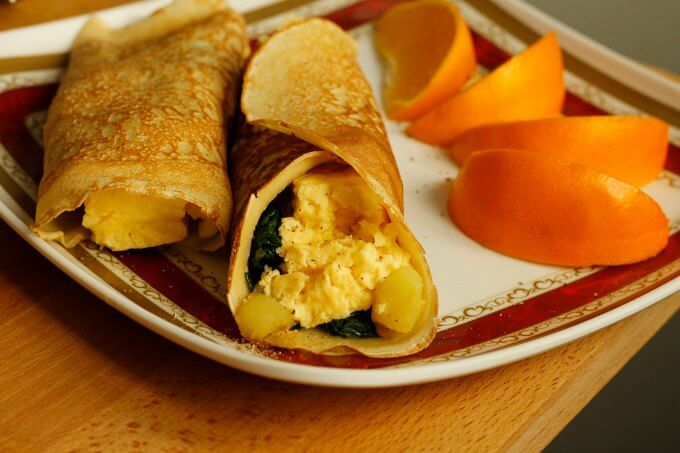 Meatless Monday: Egg, Potato and Spinach Crepes