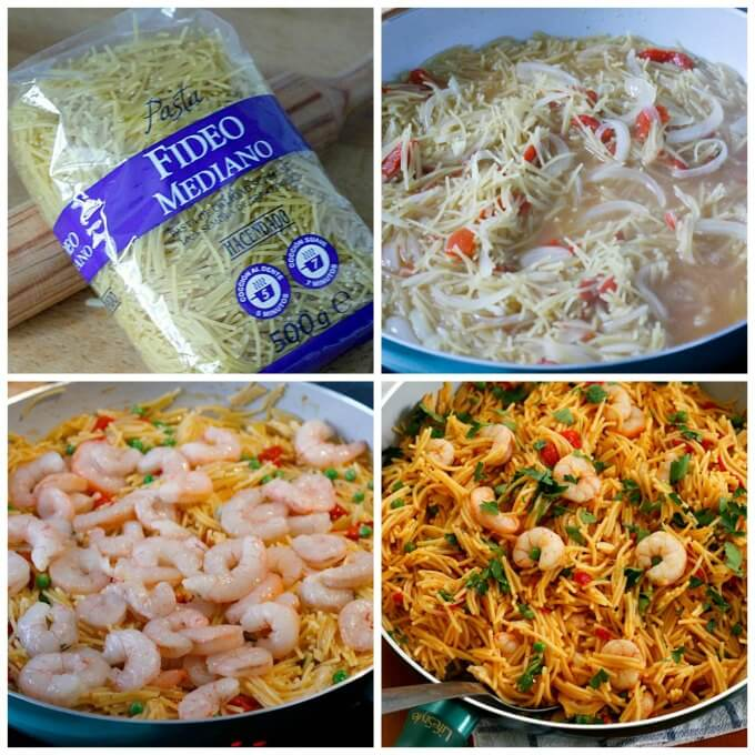 Fideos with Shrimp & Peas ~ Lydia's Flexitarian Kitchen