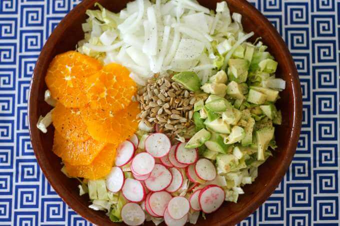 Oil Free Mustard Vinaigrette over Orange Avocado Salad ~ Lydia's Flexitarian Kitchen