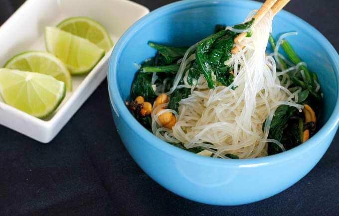 Spinach & Cashew Noodles ~ Lydia's Flexitarian Kitchen