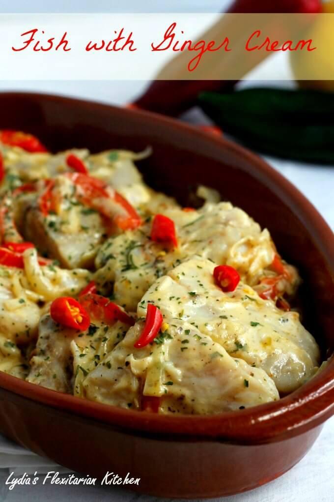 Fish with Ginger Cream ~ #FoodOfTheWorld Hungary ~ Lydia's Flexitarian Kitchen