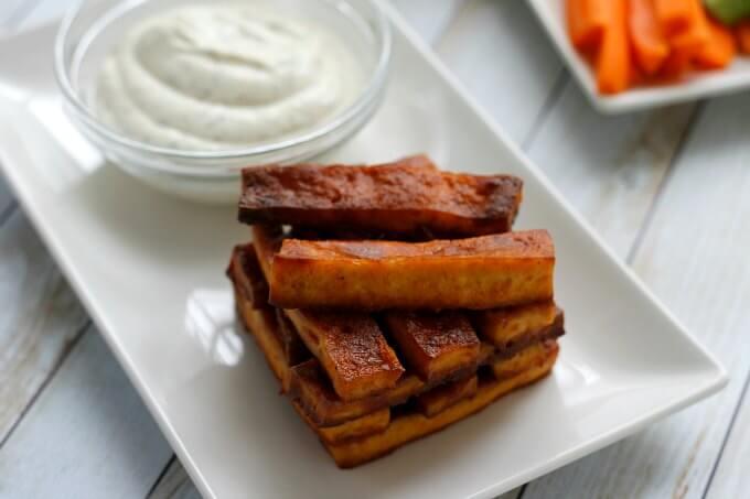 Tofu Buffalo Wings with Dairy Free Ranch ~ #meatlessmondaynight ~ Lydia's Flexitarian Kitchen