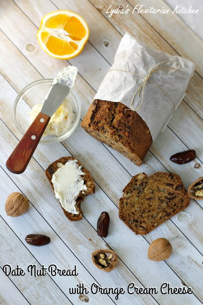 Date Nut Bread with Orange Cream Cheese Spread ~ #TheRecipeReDux ~ Lydia's Flexitarian Kitchen