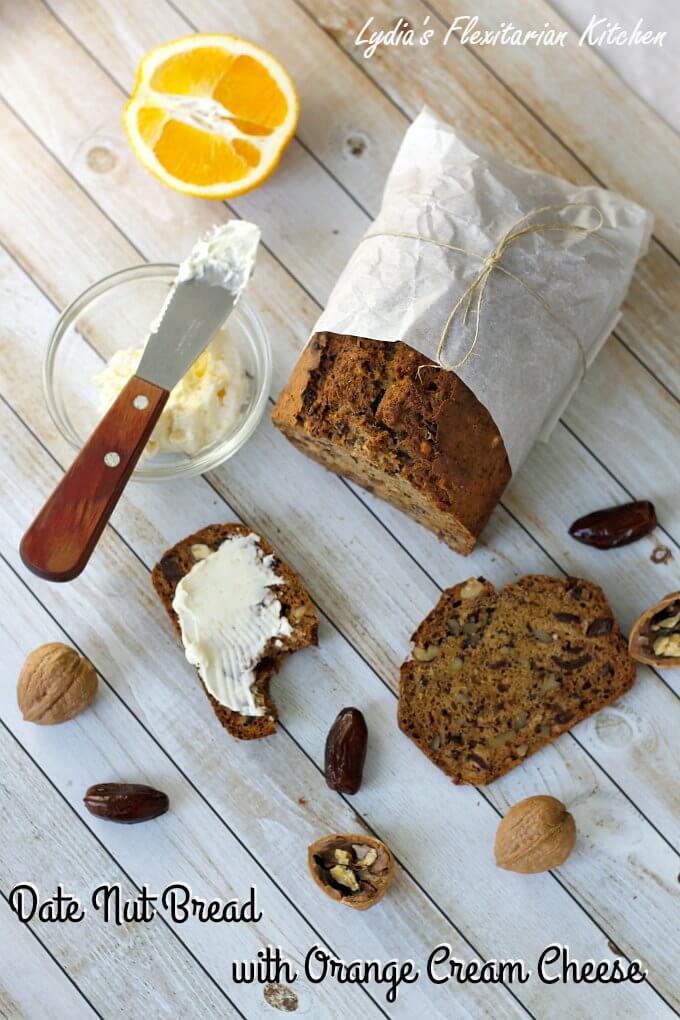 Date Nut Bread with Orange Cream Cheese Spread ~ #TheRecipeReDux ~ Lydia's Flexitarian Kitchen