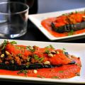 Eggplant Cutlets with Red Pepper Sauce ~ Lydia's Flexitarian Kitchen