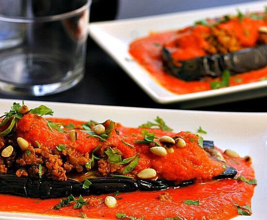 Eggplant Cutlets with Red Pepper Sauce