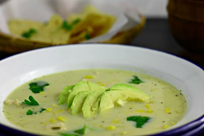 Emerald Corn Chowder ~ Inspired by Rick Bayless ~ I Heart Cooking Clubs ~ Lydia's Flexitarian Kitchen
