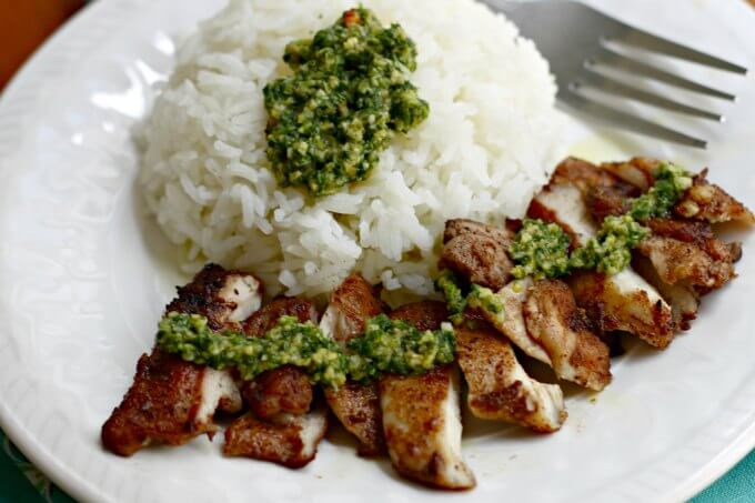 Diana Henry's Hot Green Relish with Turkish Spiced Chicken and Rice ~ I Heart Cooking Clubs ~ Lydia's Flexitarian Kitchen