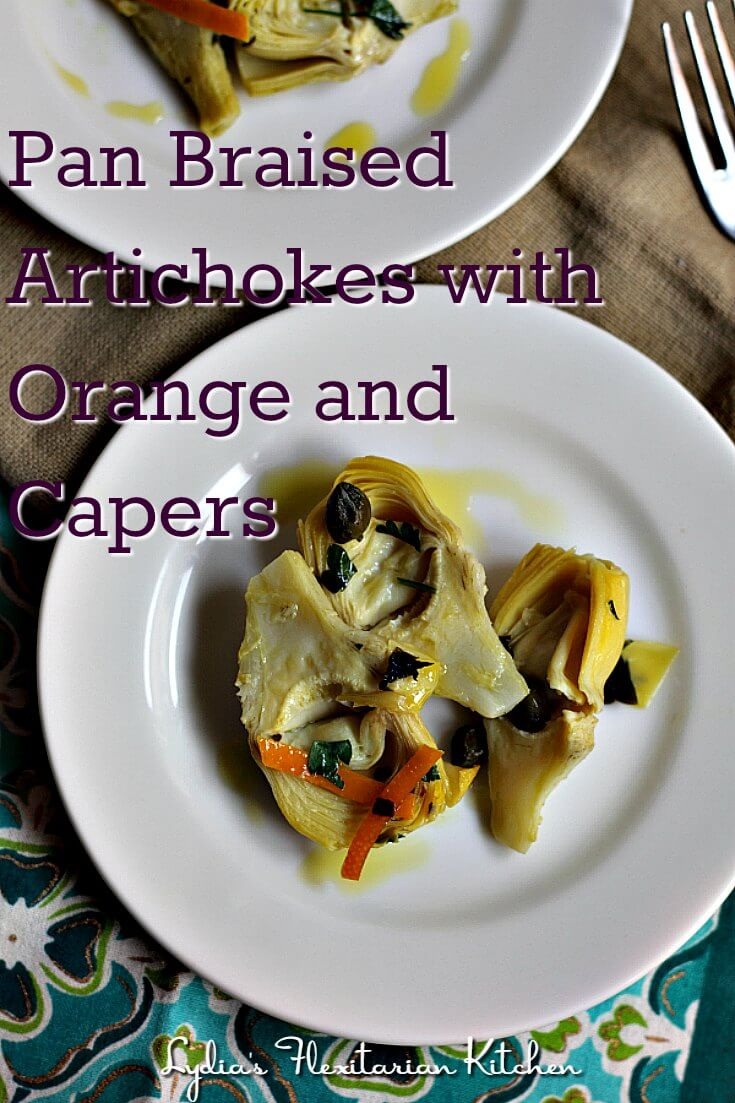 Artichokes with Orange and Capers ~ Great flavor! Try as a tapa, side dish or on top of salads, etc. ~Lydia's Flexitarian Kitchen