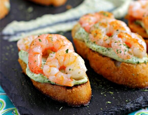Shrimp on Toast with Garlic Herb Mayo ~ Lydia's Flexitarian Kitchen
