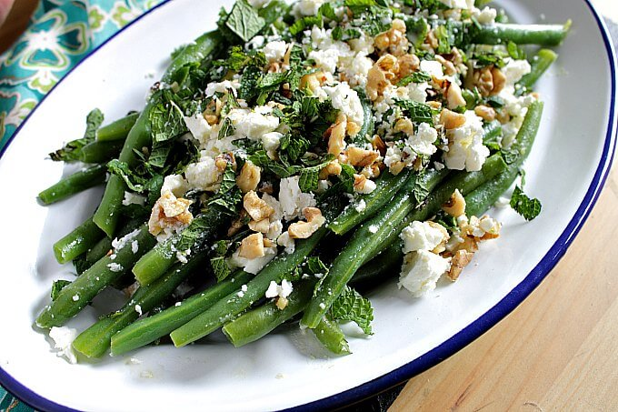 Green Beans with Feta & Walnuts ~ #Summer #Fresh ~ Lydia's Flexitarian Kitchen