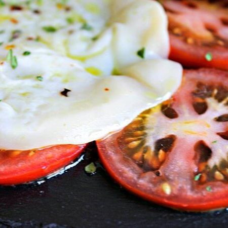 Pan Toasted Provolone with Tomato Slices ~ Lydia's Flexitarian Kitchen
