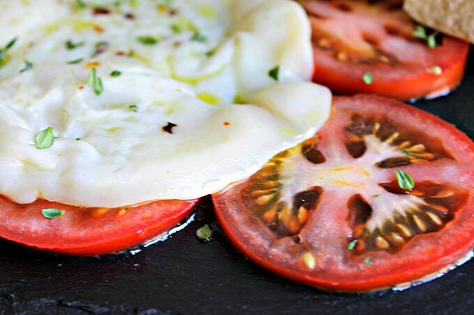 Toasted Provolone Cheese with Sliced Tomatoes