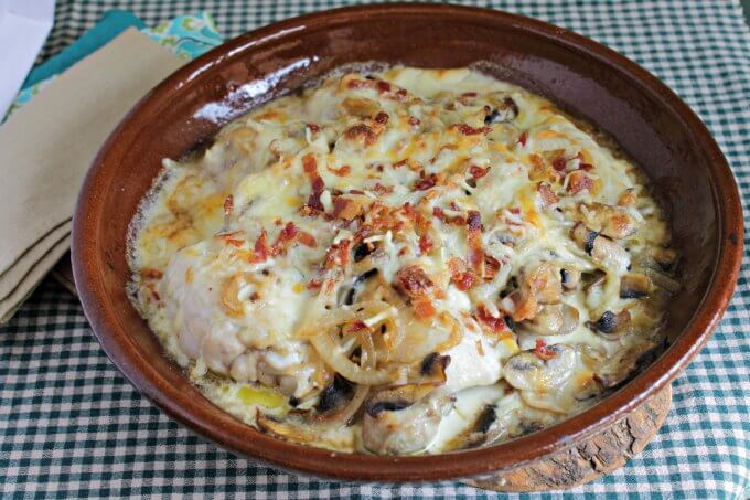 Chicken with Mushrooms, Onions and Bacon ~ Pantry Dinner ~ Lydia's Flexitarian Kitchen