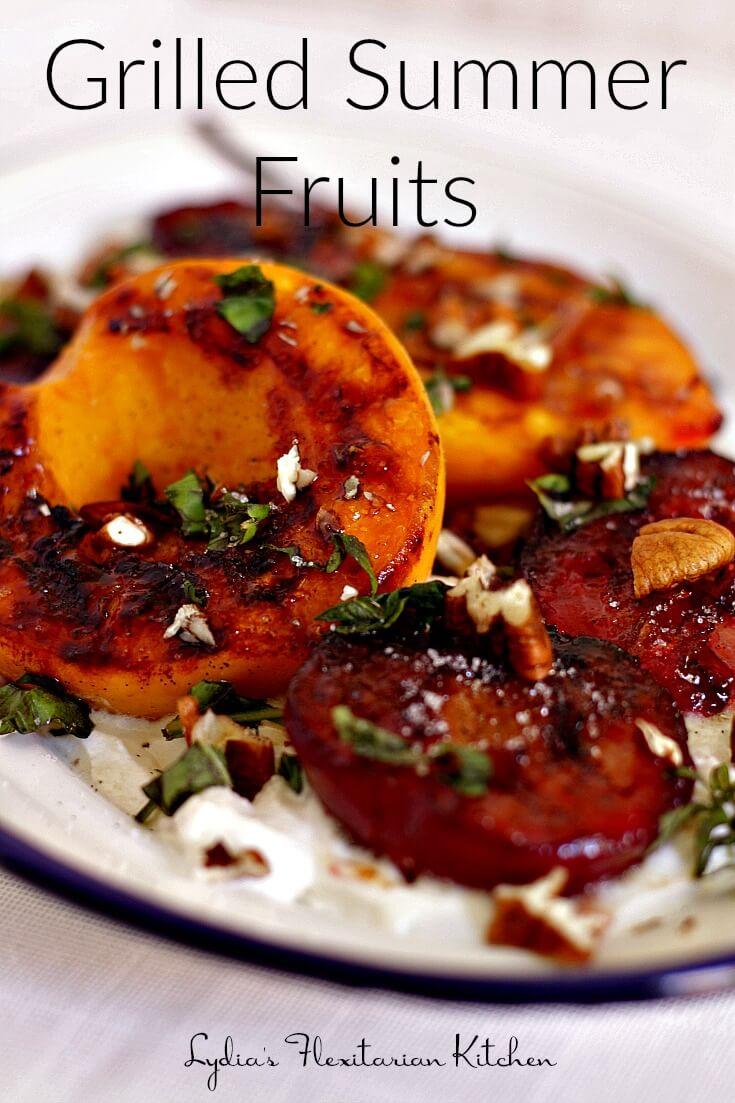 Grilled Summer Fruits with Vanilla Sugar ~ Lydia's Flexitarian Kitchen