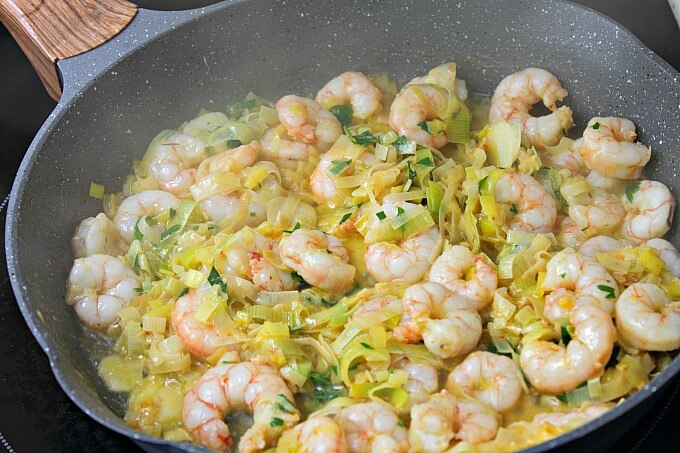 Shrimp and Leek Skillet ~ Lydia's Flexitarian Kitchen