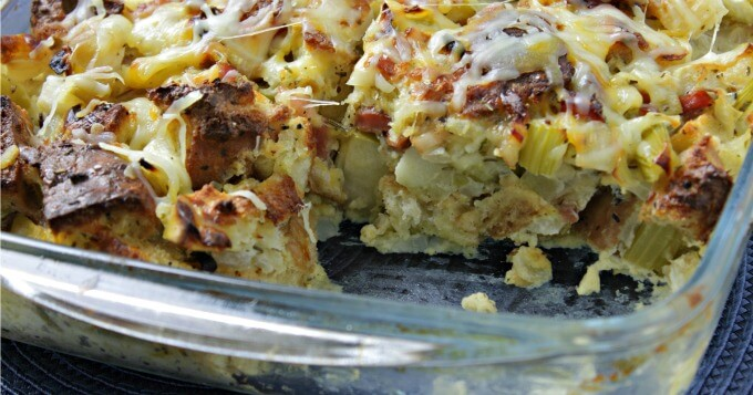 Ina's Apple and Herb Bread Pudding