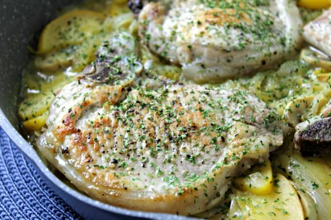 Pan Braised Pork Chops with Apples and Onions ~ One Dish, Delish ~ Lydia's Flexitarian Kitchen