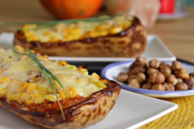 Butternut Squash with Leeks and Hazelnuts