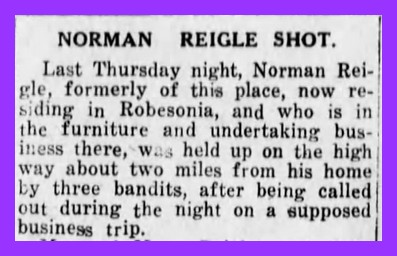 Who Shot Norman Riegle? An Unsolved Crime from 1922 – Lykens