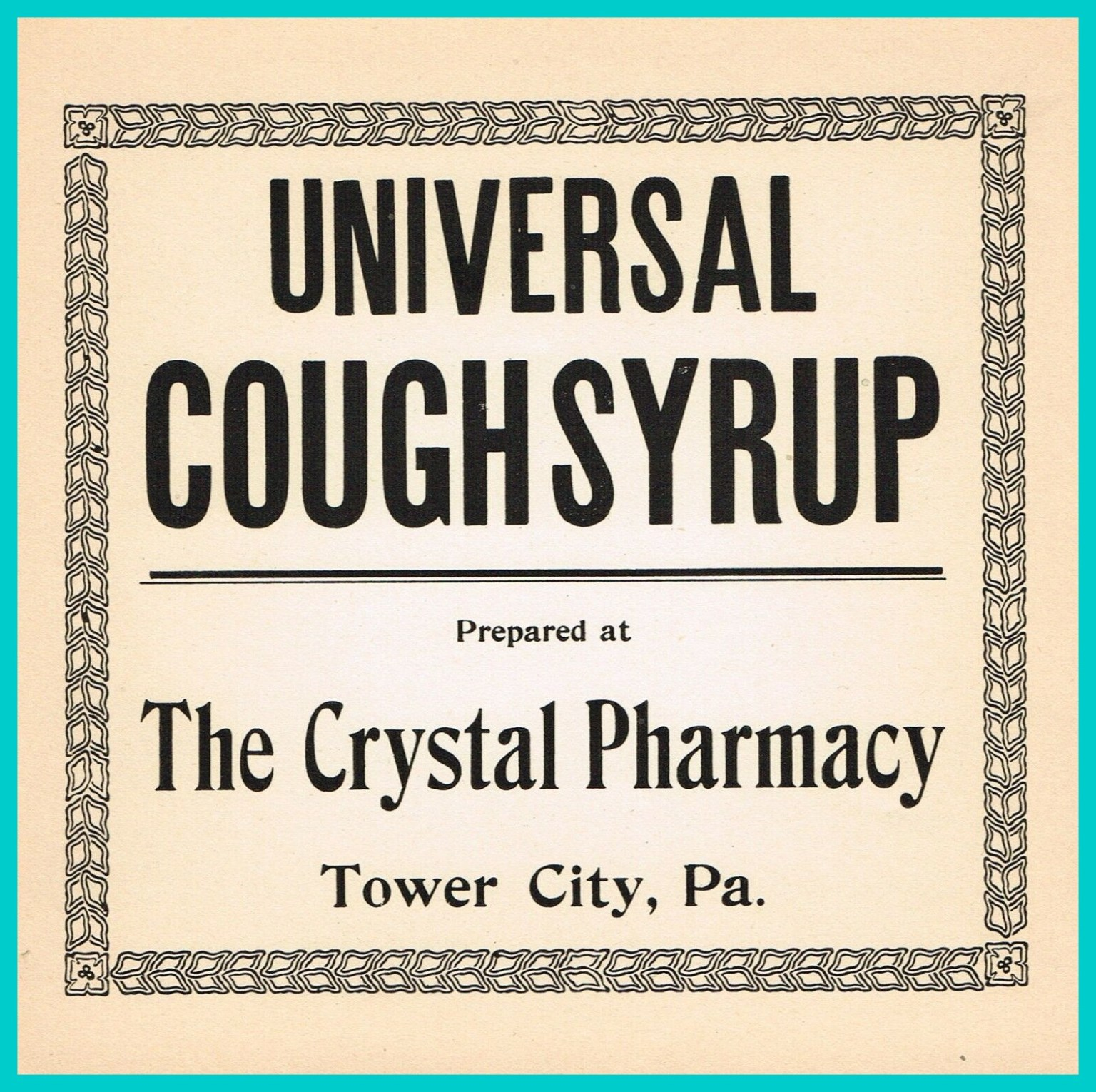 Tower City - Crystal Pharmacy Label (2) - Lykens Valley ...