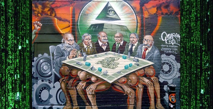 """@mearone """"The New World Order is the Enemy of Humanity"""" artwork on Hanbury Street, Brick Lane"""