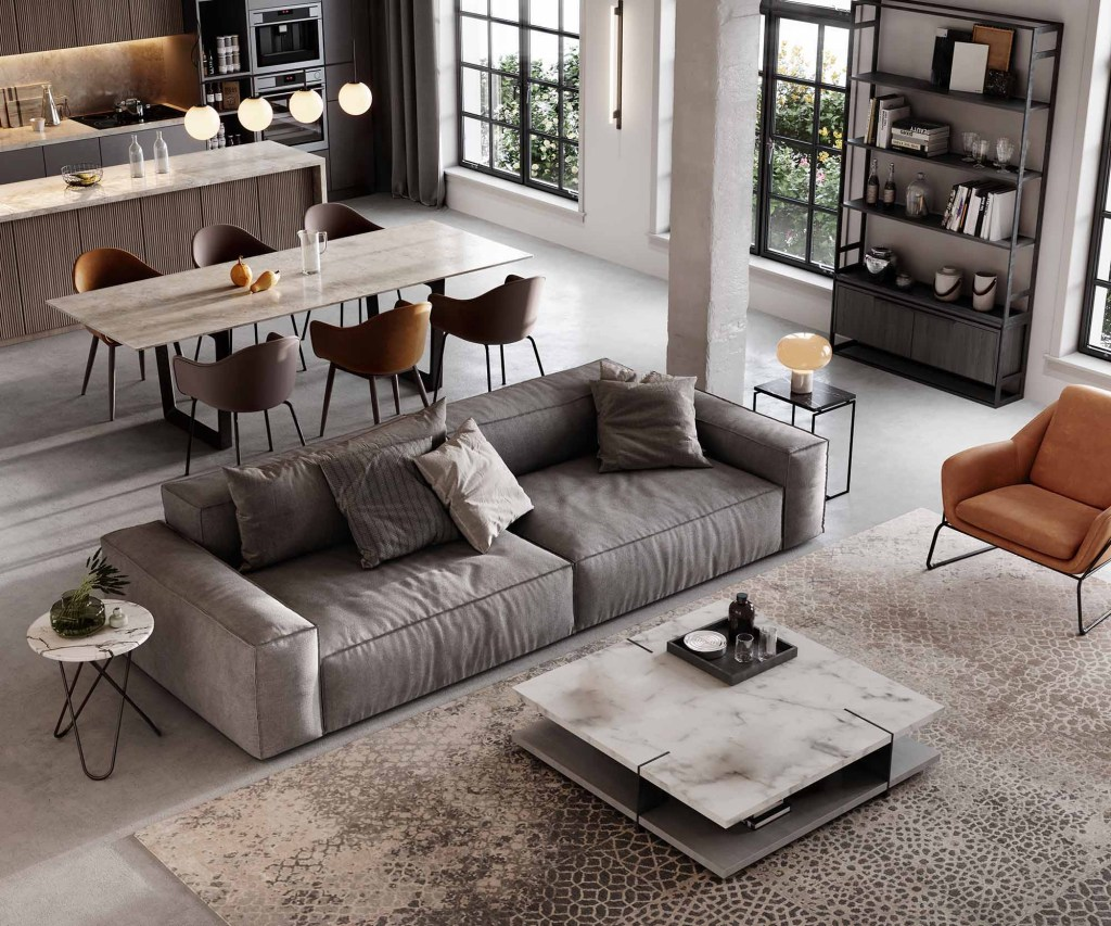Well furnished living room render
