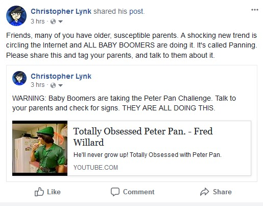Baby boomers are taking the Peter Pan Challenge