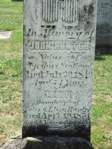 Mary daughter of Peter and Eliza Hunter d April 29, 1851