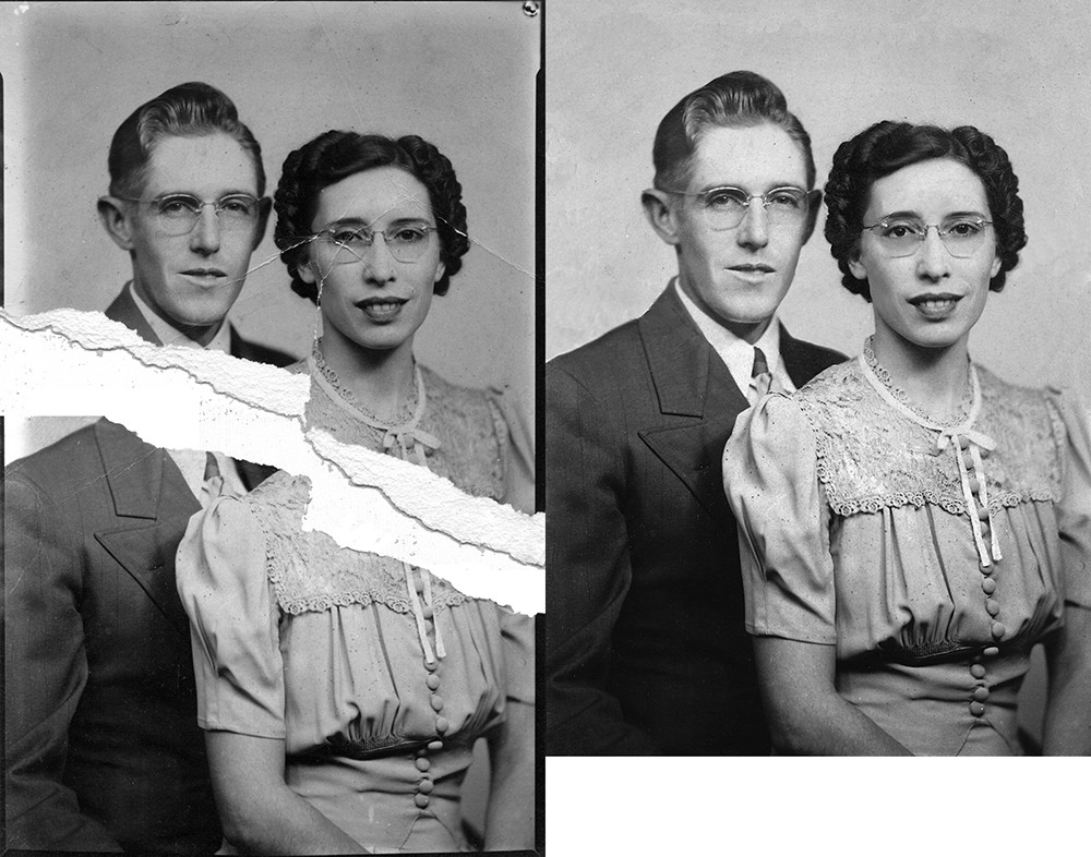 Before and after of a photo being repaired.