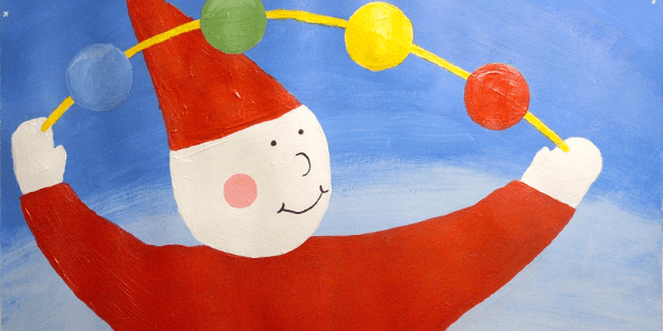 Acrylic painting, in children's storybook style, of a clown juggling