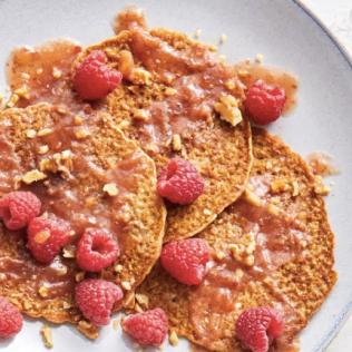 oatmeal lemon pancakes with raspberry sauce