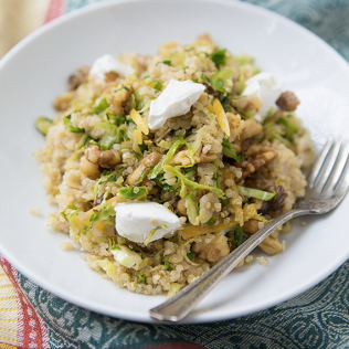lemon quinoa with shaved brussels