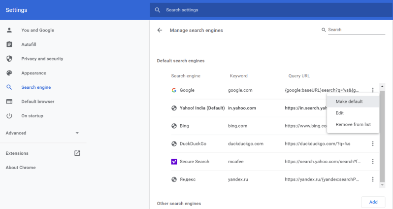 Chrome search engine