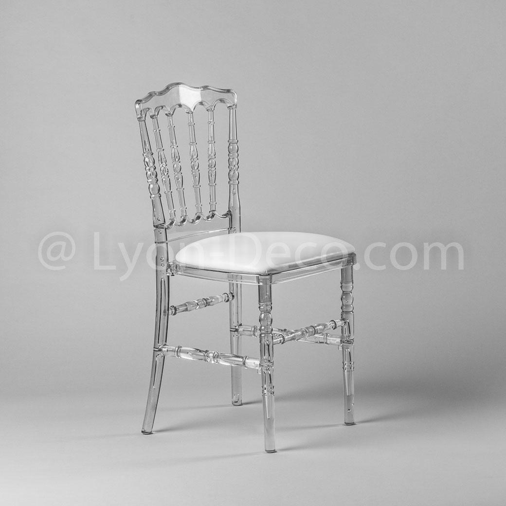 Location Chaise Napoleon 3 Cristal Avec Assise Simili Cuir