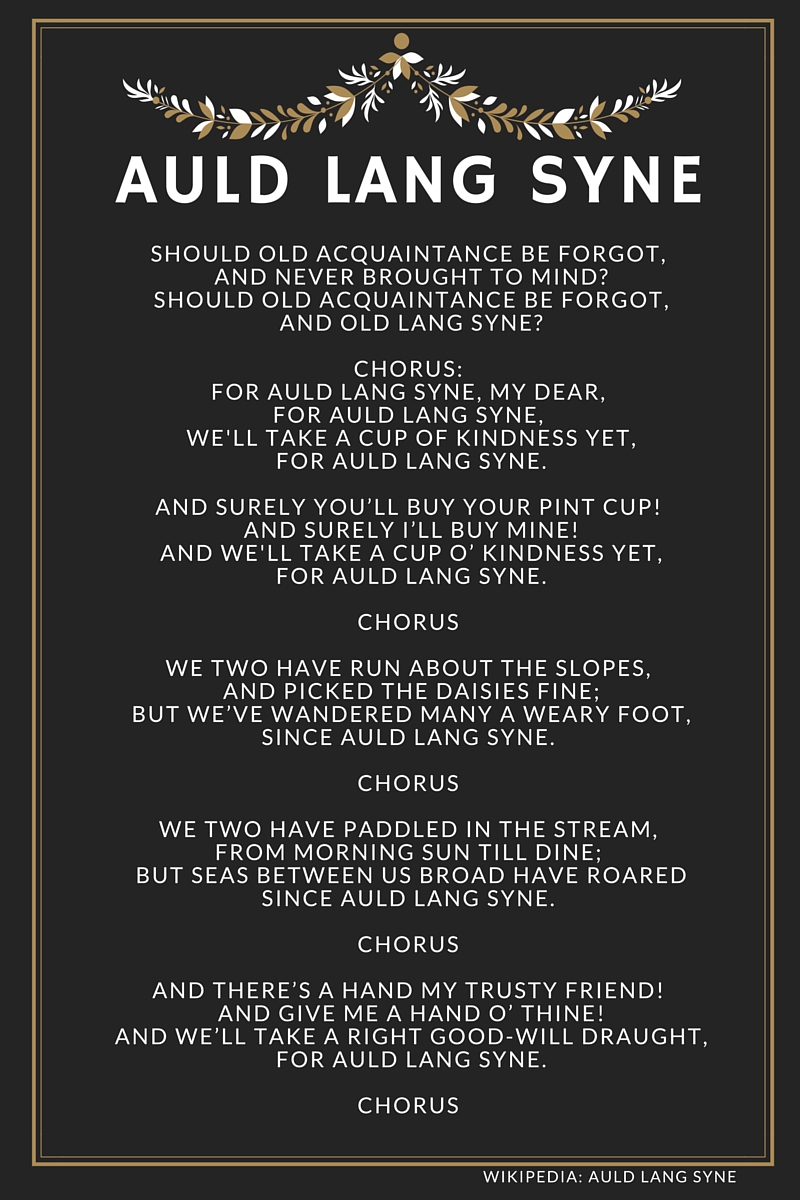 Lyrics containing the term: auld lang syne
