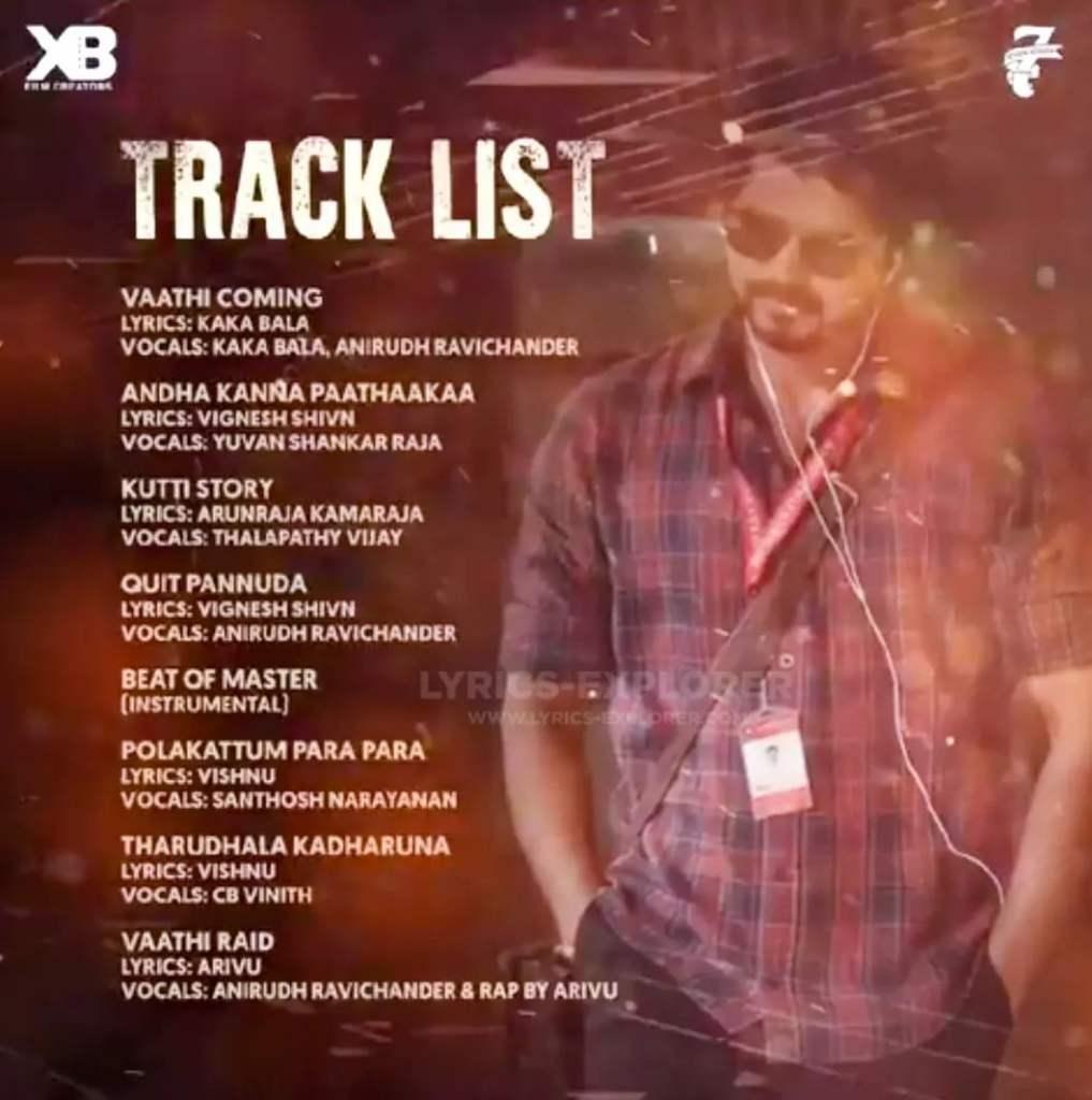 Hear the Thalapathy Vijay Master Tamil movie official Track List - Vijay, Lokesh Kanagaraj, Vijay Sethupathi, Anirudh Ravichander