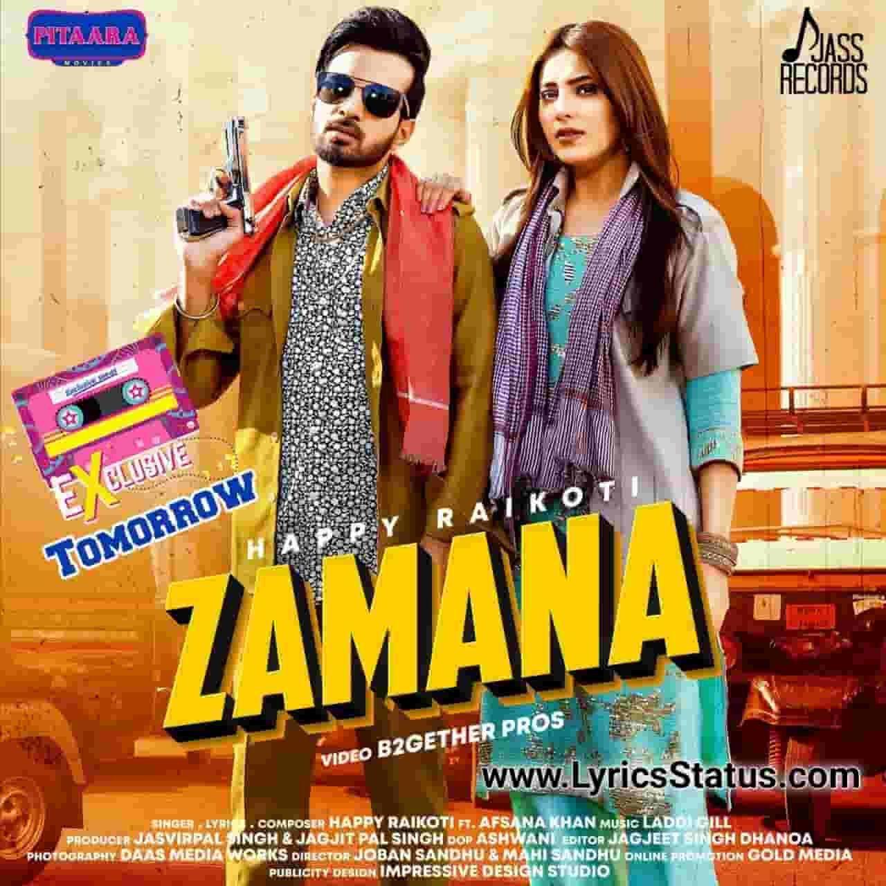 Happy Raikoti new song Zamana Afsana Khan Lyrics status