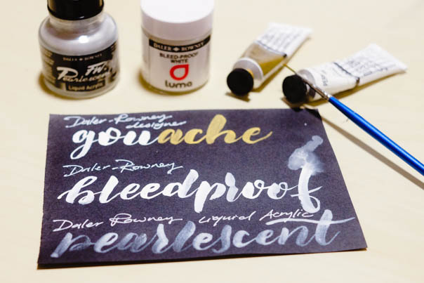 lettering on dark surfaces