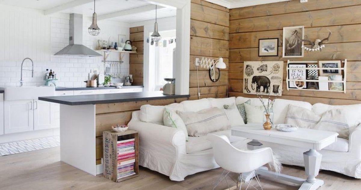 salon scandinave blanc bois par