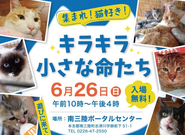 6月26日(日)「キラキラ小さな命たち」開催のお知らせ