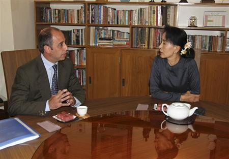 Handout of Quintana, U.N. special envoy on human rights in Myanmar, meets with Myanmar pro-democracy leader Suu Kyi in Yangon