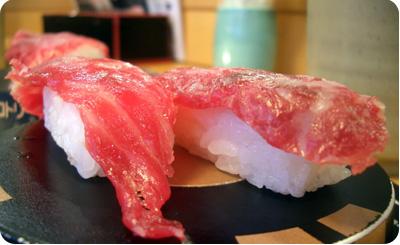 viande au Japon sushi de cheval fin