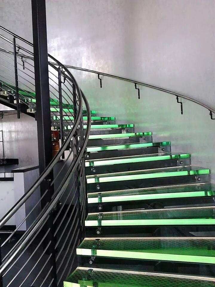 Interior Exterior Custom Glass Stair Treads | Glass Stair Treads Cost | Floating | Steel | Handrail | Hardwood | Wood