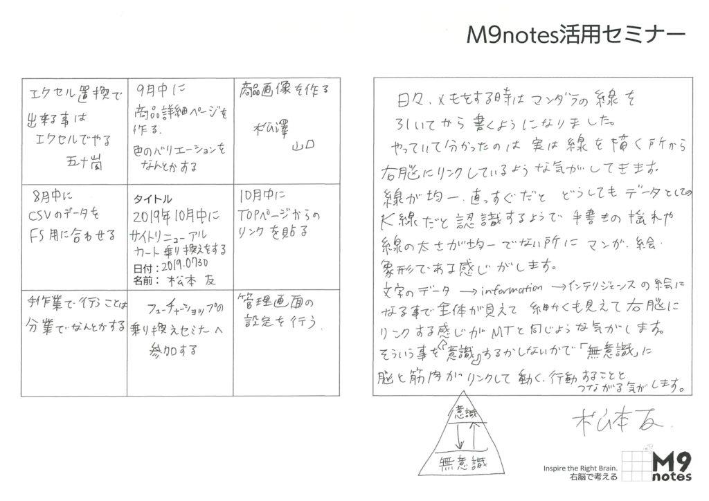 2019.0730 活用セミナー感想文 松本友さん