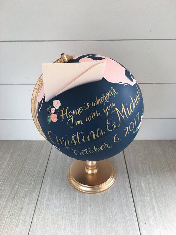 urne de mariage globe terrestre