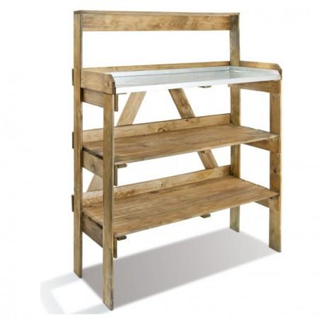 table de preparation en bois fsc traite autoclave avec etageres pour semis jardipolys