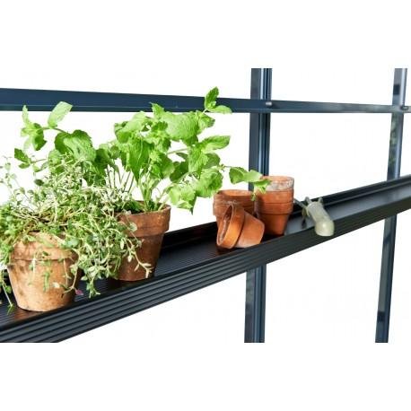 etagere en aluminium laque noir 15x213cm pour serre de jardin juliana