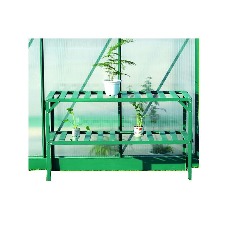table de rempotage verte a 2 niveaux pour serre de jardin